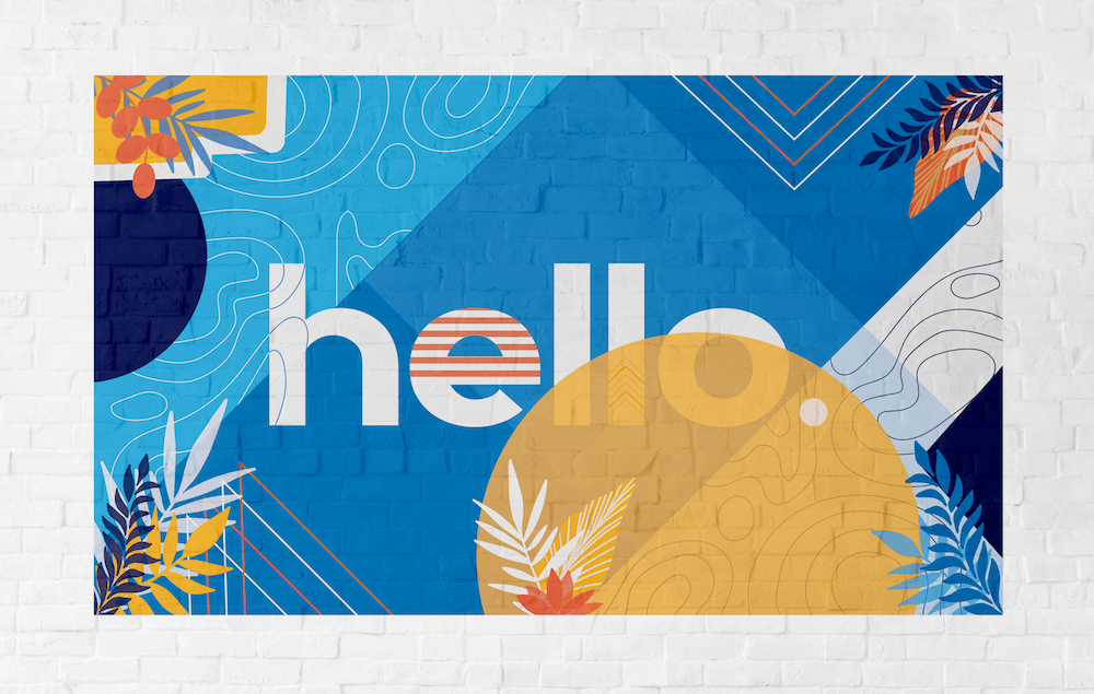 mural art design hello message